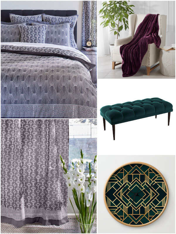 grey and white Art Deco patterns with rich jewel tone accessories