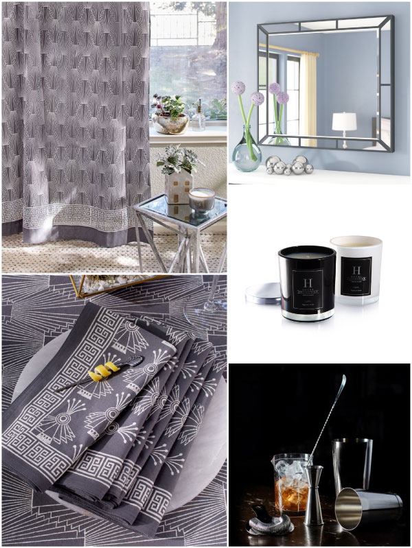 Art Deco patterns styled with sexy grey black and silver color scheme