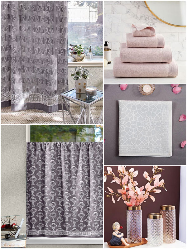 Grey and white Art Deco patterns with blush pink accessories
