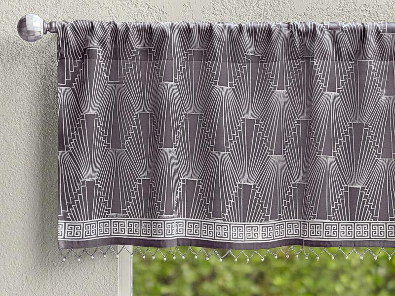 grey modern valance with geometric pattern