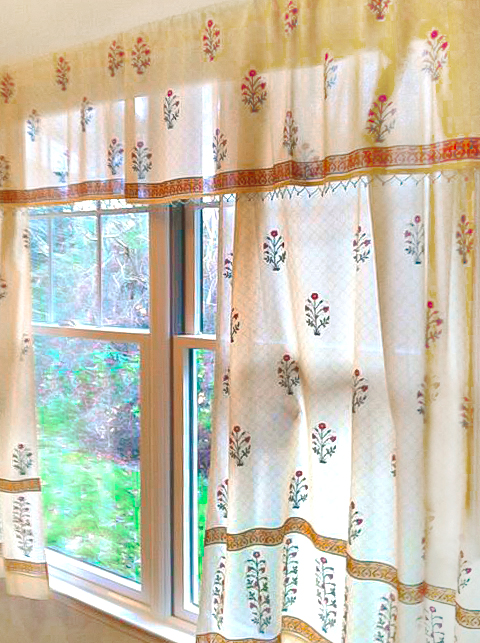 sheer valances and curtains with red poppies