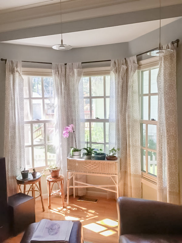 windows with white sheer curtains, orchids, rattan plant stand, and tropical decor
