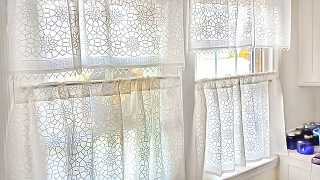 sheer white and grey kitchen curtains with Moroccan pattern