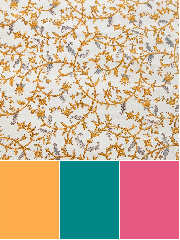 tropical color scheme palette with yellow, teal, and pink