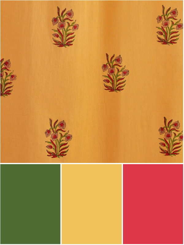 tropical colors with mango, green, yellow, and fruit punch red