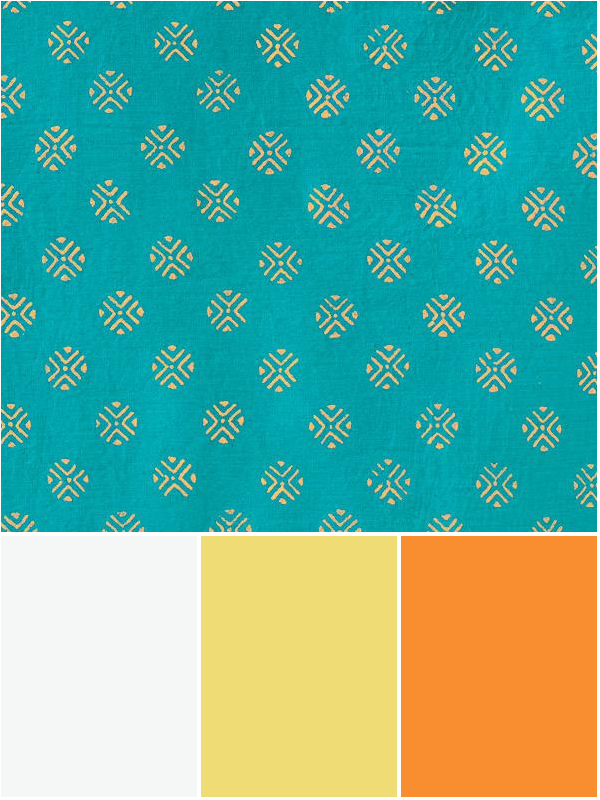 tropical color schemes with teal, white, yellow, and mango