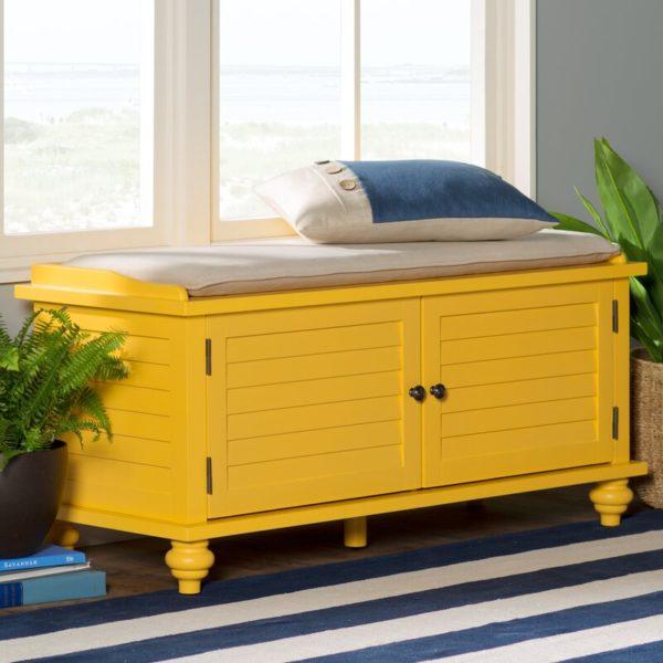 yellow shutter cabinet bench