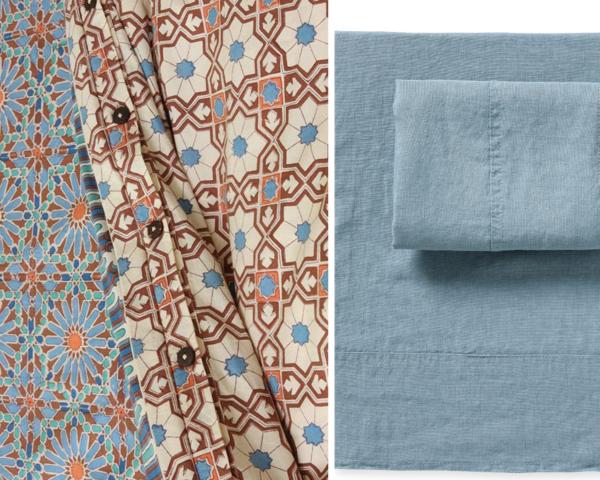 blue positano linen sheet set from serena  & lilly