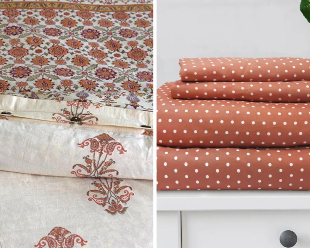floral duvet cover with orange polka dot sheets