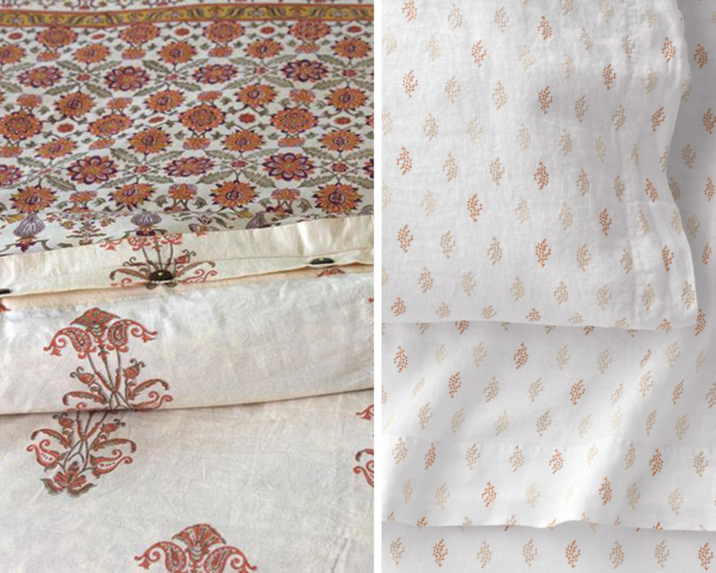 floral orange duvet cover and printed sheets