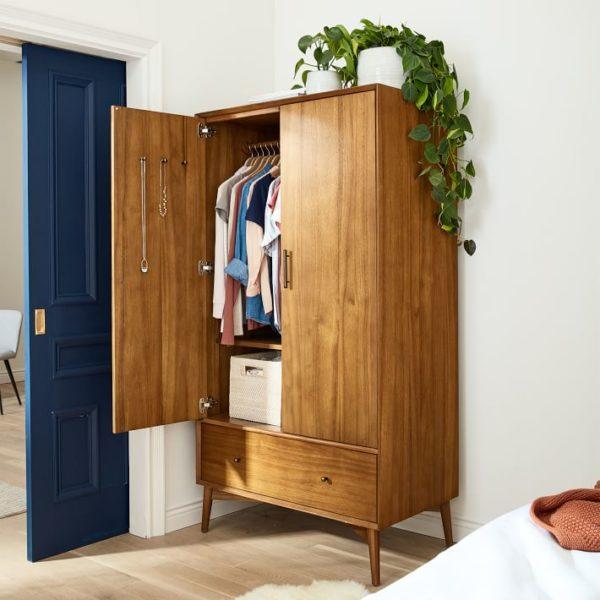 West Elm mic century armoire for linen storage