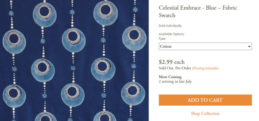 Celestial Embrace – Blue ~ Fabric Swatch