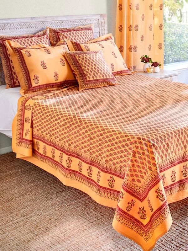 Indian Summer ~ Orange Paisley Exotic Sari Print Bedspread