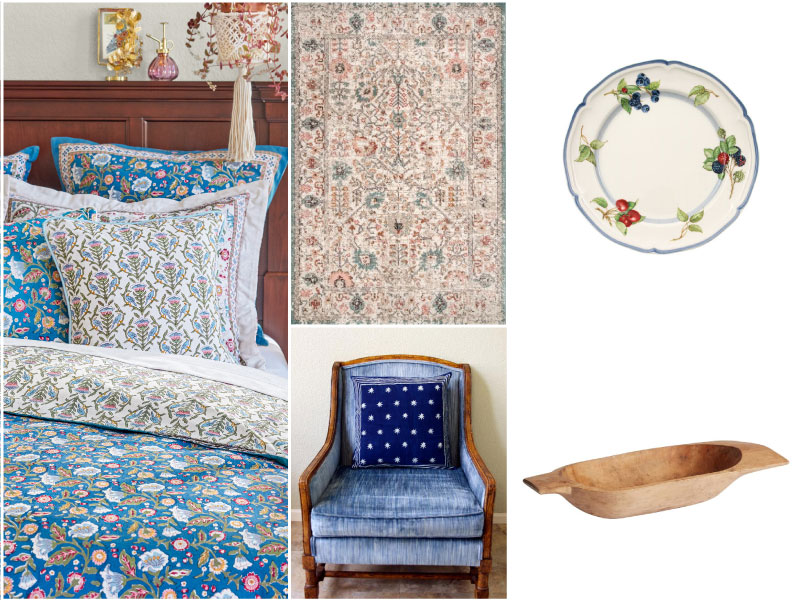 collage of cottage decorating ideas