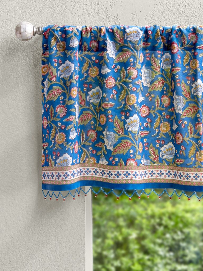 blue floral valance curtain with beads