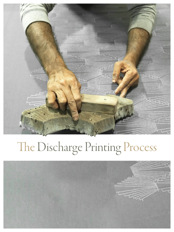 hand block printing with label that says the discharge printing process