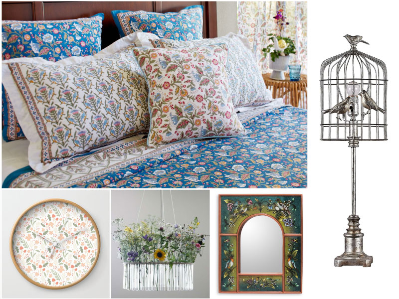 a collage of flower pattern linens and decor