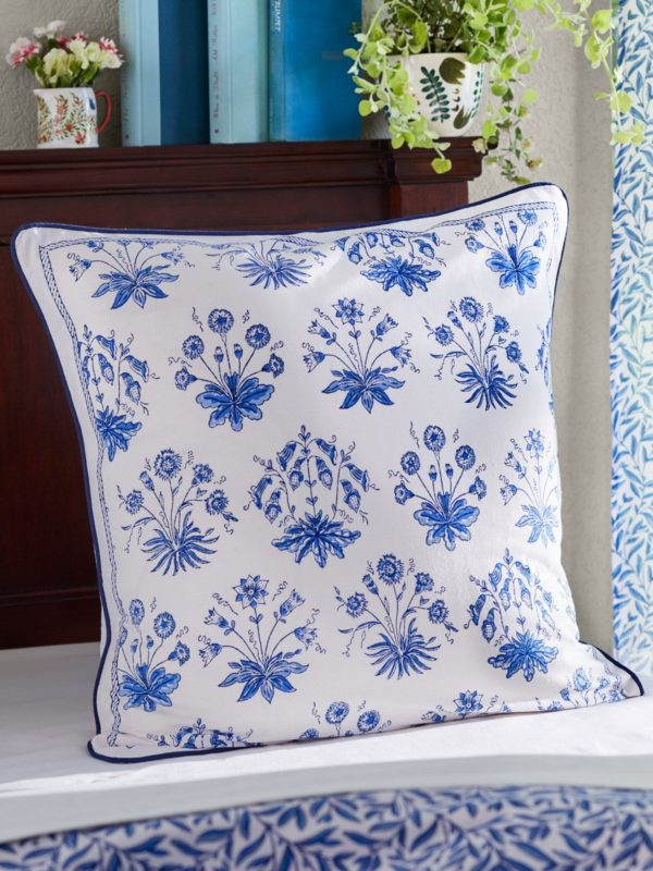 white and blue flower pattern pillow cover