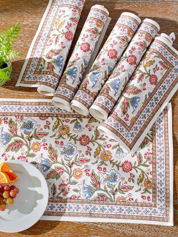 floral cotton placemats