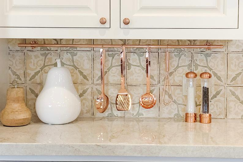 copper pot rack rod for under the cabinet
