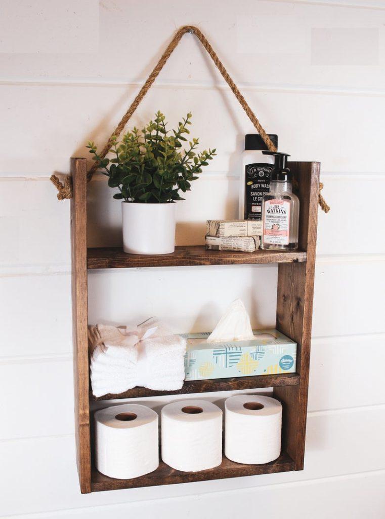 wooden shelf for bathroom