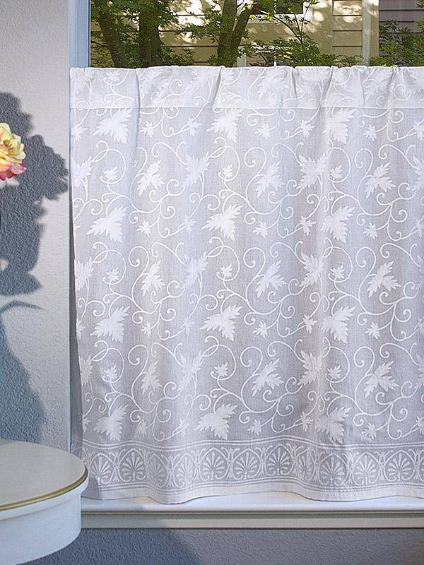 white sheer cafe curtain with pattern
