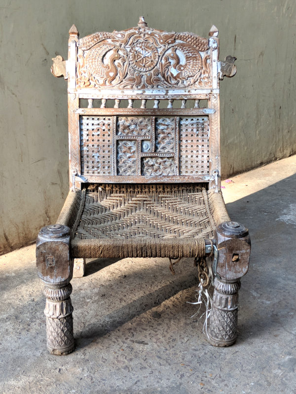 Indian wood carved chair