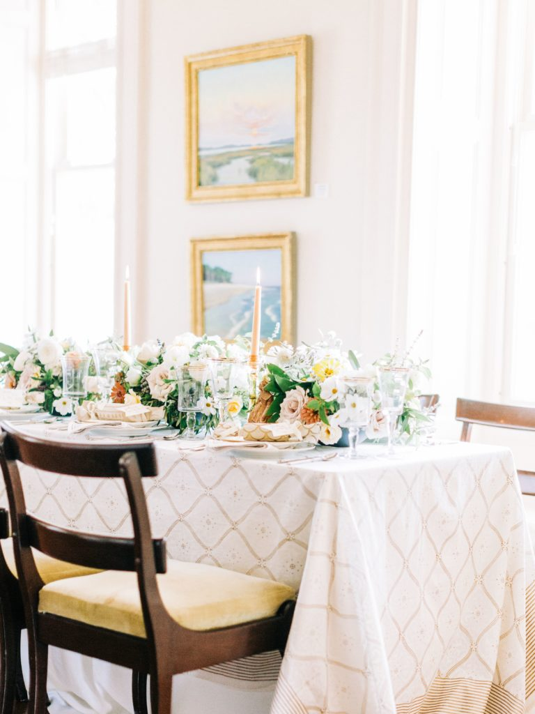 elegant white and gold table setting for Thanksgiving or any occasion