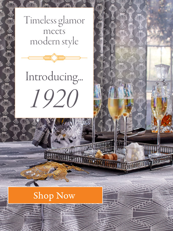 Art deco pattern linens inspired by the Jazz Age.
