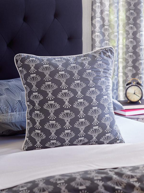 grey boho geometric print throw pillow