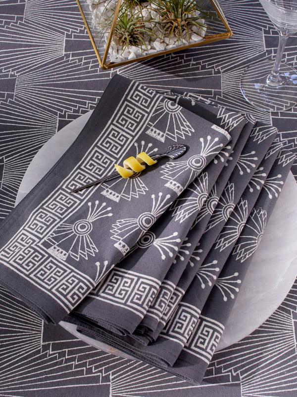 grey cloth napkins with Art Deco pattern