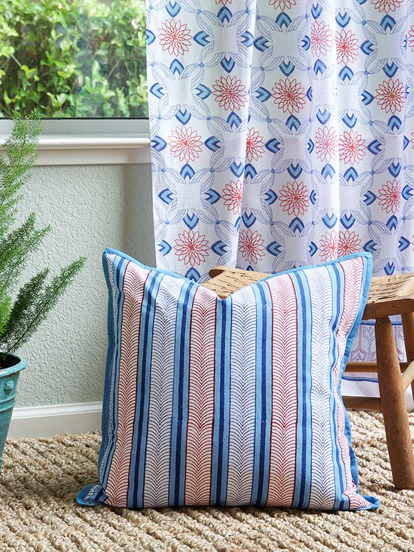 Le Chateau Stripes French Country Nautical Throw Pillow
