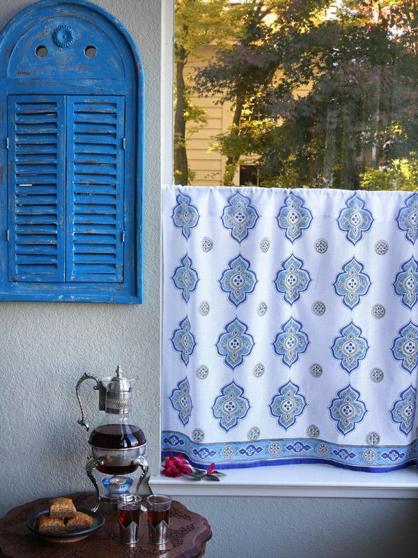White Kitchen Cafe Curtains Moroccan Saffron Marigold