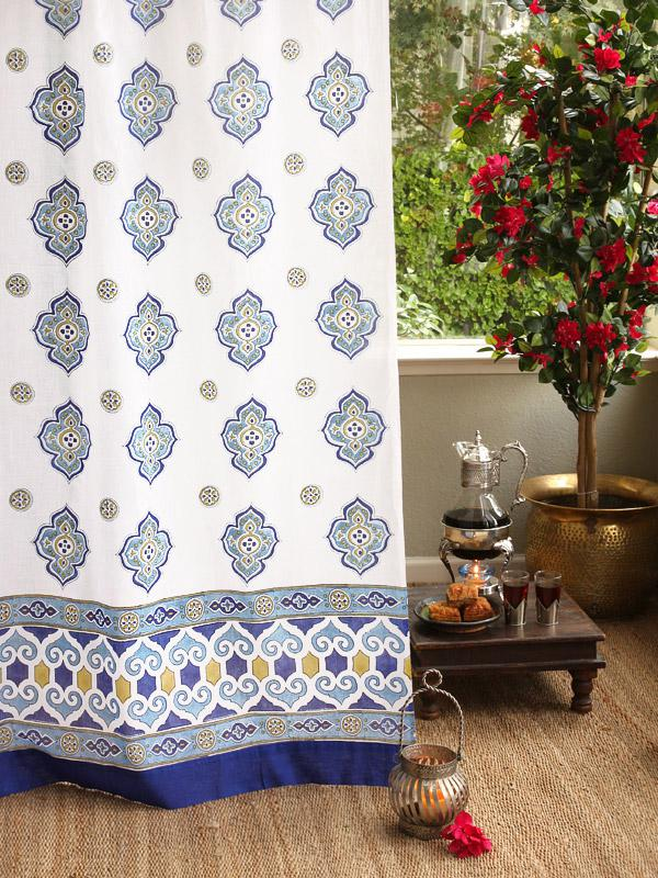 White Curtains With Blue Medallions And Moroccan