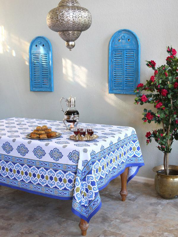 Beau Moroccan Tablecloth, Blue And White Tablecloth , Ivory Tablecloth,Cotton  Tablecloth | Saffron Marigold