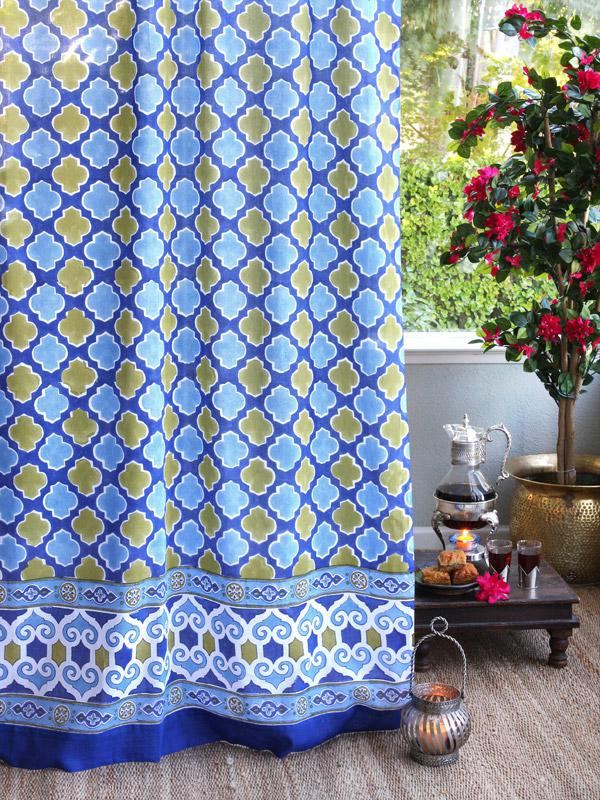 Casablanca Bluesc Moroccan Style Inspired Quatrefoil Curtain