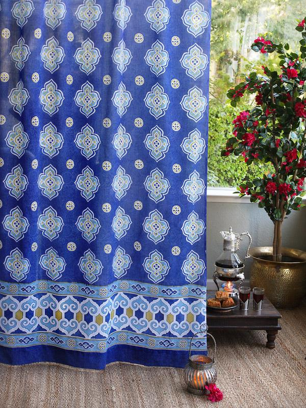 Blue Curtain Moroccan Curtain Vintage Curtain Sheer