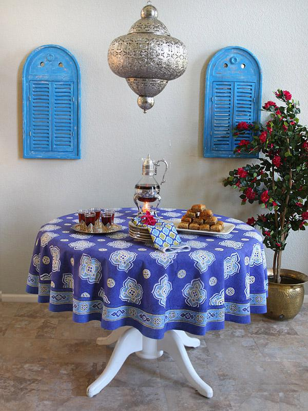 Moroccan Round Tablecloth, Blue Round Tablecloth , Round Tablecloth |  Saffron Marigold
