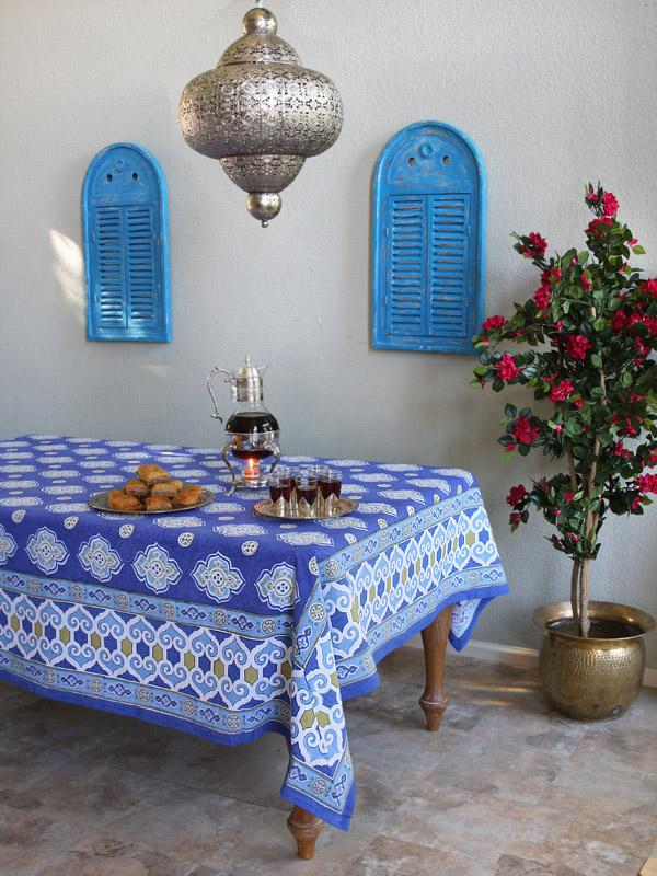 Moroccan Tablecloth Blue Tablecloth Ivory Tablecloth