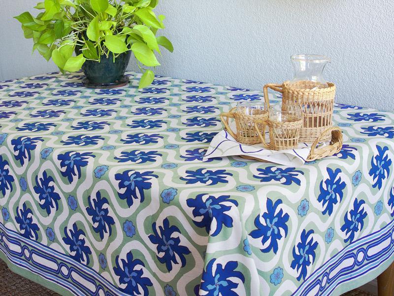 Tropical Tablecloth Coastal Aqua Floral Saffron Marigold