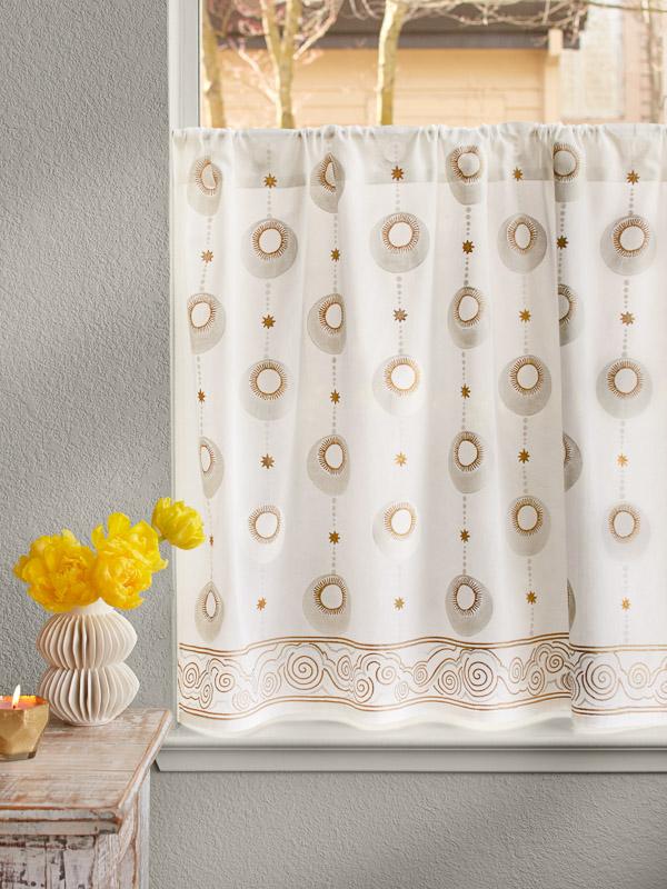 Celestial Embrace White Kitchen Curtain Saffron Marigold