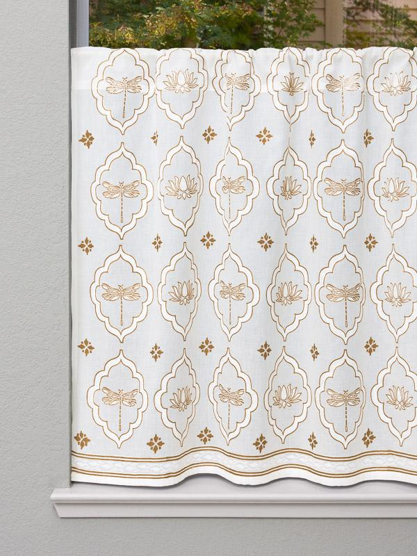 Dragonfly And Lotus White And Gold Kitchen Tier Curtain Saffron Marigold