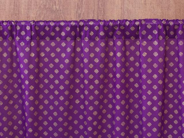 Indian sari curtain, Purple, Gold | Saffron Marigold