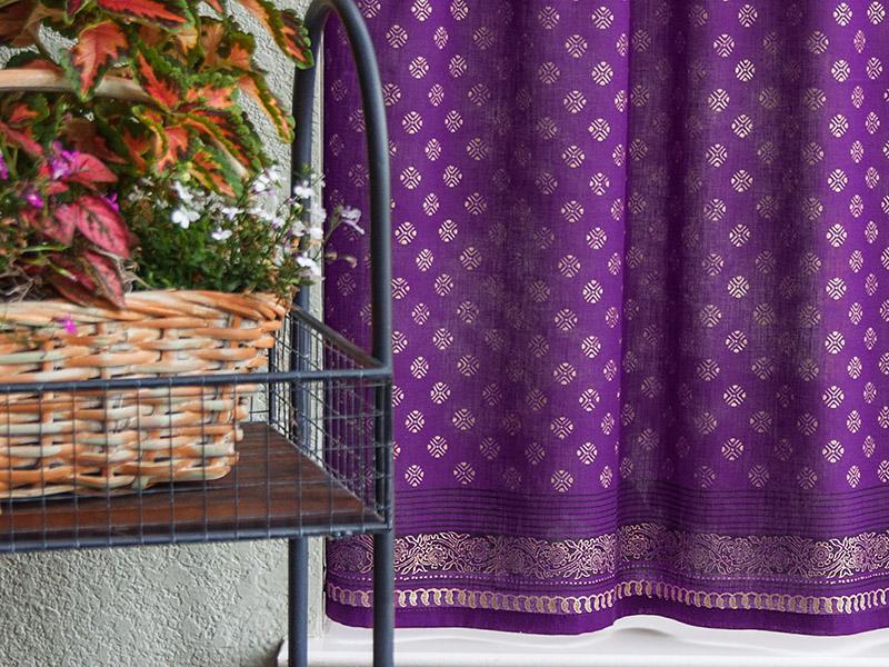 Purple gold Kitchen Curtain, India sari   Saffron Marigold