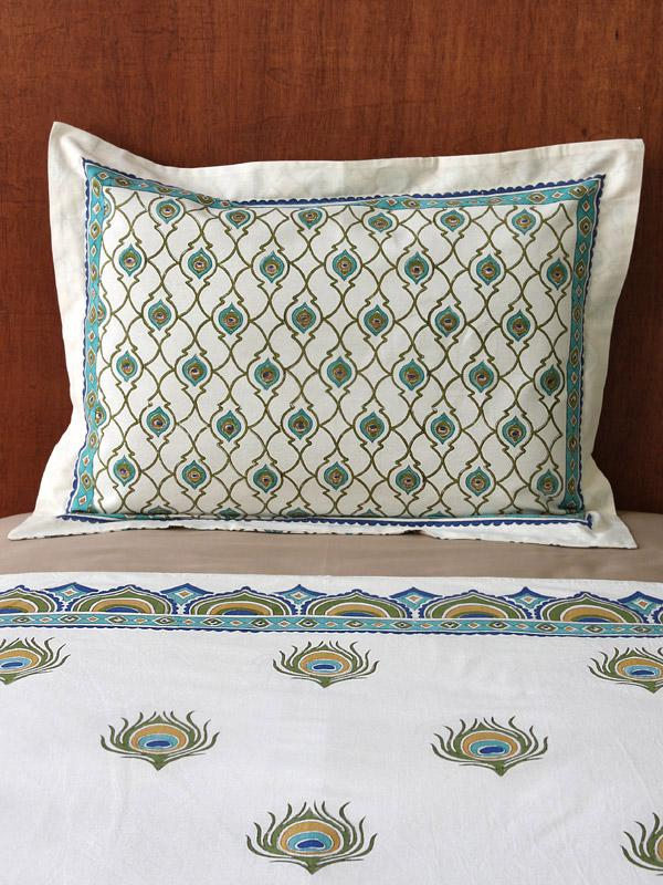 dance o peacock cp ivory peacock feather elegant pillow sham