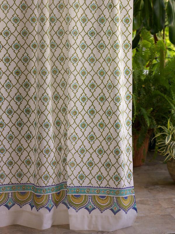 India Curtain Panel Ivory Trellis Saffron Marigold