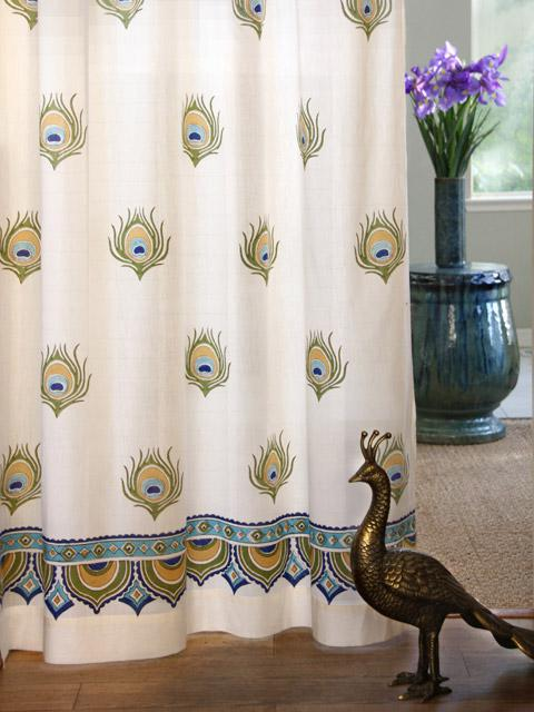 peacock curtain feather curtain ivory curtain cotton curtain panel
