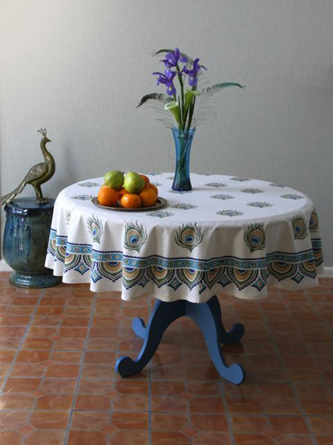 Peacock Round Tablecloth, Feather Round Tablecloth , Ivory Round Tablecloth  | Saffron Marigold