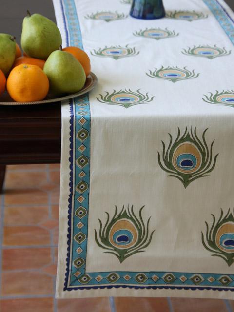 Peacock Table Runner Ivory Table Runner Elegant Table