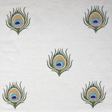 peacock feather table linens